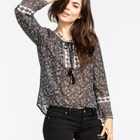 Full Tilt Paisley Womens Peasant Top Black  In Sizes