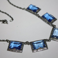 Art Deco Necklace Blue Crystal Openback  Glass 1920s Jewelry Antique