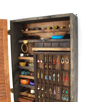 Rustic Wooden Wall Mounted Jewelry Organizer... Handmade by TangleandFold
