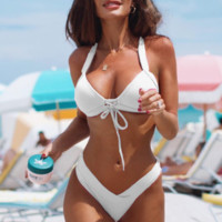 Summer Beach New Fashion Solid Color Swimming Swimsuit  Straps Two Piece Bikini Women White