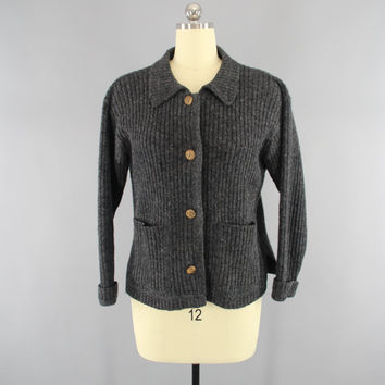 Vintage 1970s Wool Sweater / 70s Cardigan / Charcoal Grey / Dark Gray / Fisherman's Sweater / Woolrich