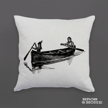 Canoe Throw Pillow | Screen Printed Indian Canoe Couch Pillowcase