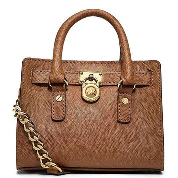 LMFIX5 Michael Kors Saffiano Leather Mini Hamilton Messenger Bag Crossbody Luggage Brown