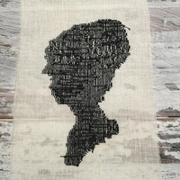 Edwardian Victorian Silhouette Woman . Cross Stitch Sampler . Black Silhouette . Finished Completed Cross Stitch . Embroidery Art .