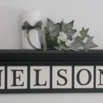 "Personalized Family Names and Signs 30"" Shelf with 8 Wooden Letter Tiles Painted Black and White NELSON with Bold Ivy Leaves Design Tiles"