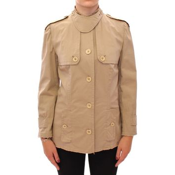 Dolce & Gabbana Beige Cotton Short Trench Coat Jacket Top