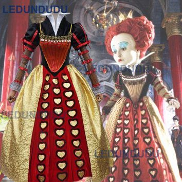 Alice in Wonderland Cosplay Costume The Red Queen Cosplay Dress Halloween Carnival Party Fancy Suit Clothes