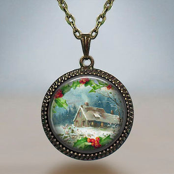 Vintage Christmas Theme Green Red Snow Little Village Resin pendant Antique silver bronze gift for him for her gift THEME