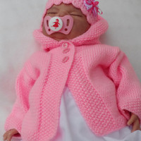 Baby coat and hat, reborn, handknit, machine washable, Pink, hooded sweater, pink coat, hooded coat, Acrylic. First size. Baby shower gift