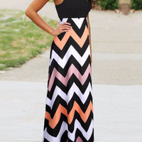 2015 Women Maxi Dress Contrast Chevron Tank Sleeveless High Waist Casual Summer Style Dress Vestidos