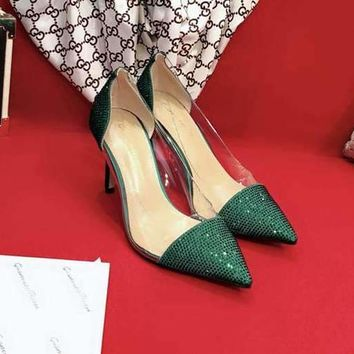 Gianvito Rossi Glass Cement Shoes 85mm Stiletto Heel Green Casual Women Shoe
