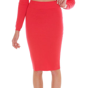 Dare To Love Knit Pencil Skirt - Red