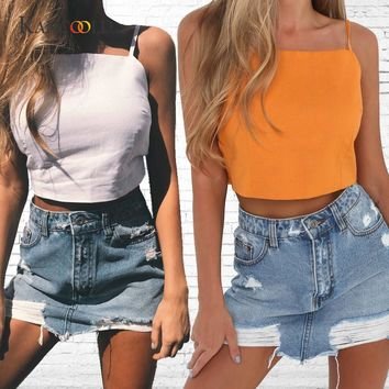 KANCOOLD tank tops	cropped	Solid crop top hoodie 	Camis Tops Blouse Women's Summer Open Back Halter Bow TieTanks jan19