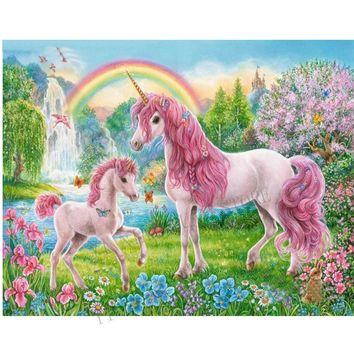 3D diamond painting unicorn mother and child wall sticker 100% square 5Dcross stitch pattern semi-finished frameless room decor
