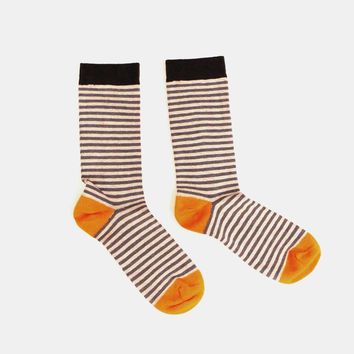 Tonal Grey with Orange Mini Stripe Socks