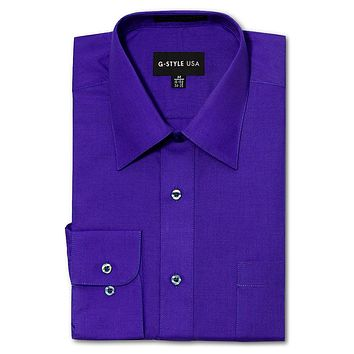 Men's Basic Solid Color Button Up Dress Shirt (Purple)