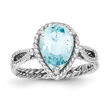 Sterling Silver Genuine Blue Topaz Pear Twisted Ring