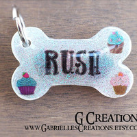 Cupcake Bone Dog Tag - Glow in the DARK - Personalized Custom Handmade Dog Pet ID - Resin Girlie Cupcakes - Cute Dog Collar Accessory