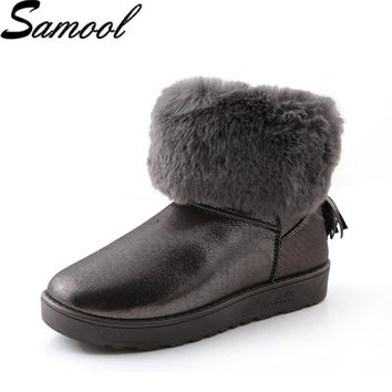 Fashion cheap leather boots Australia Hot Sale Cute Winter women's Felt Hair Flat Ankle Snow Boots with Faux Fur Outside shoes