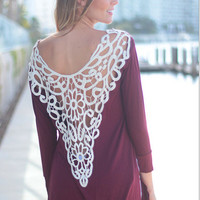 Hollow Out Lace Back Long Sleeve T Shirt