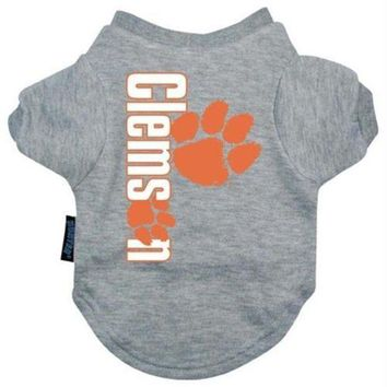 VONEYW9 Clemson Tigers Heather Grey Pet T-Shirt