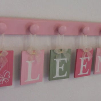Baby Girl Name Sign Includes Personalized Alphabet Wall letters and 6 Wooden Hooks Pinks and Greens. Custom Order for LEENA with Butterfly