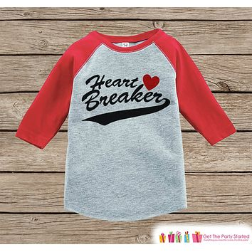 Boys Valentines Outfit - Heart Breaker Valentine's Day Shirt or Onepiece - Funny Valentine Shirt for Boys - Baby, Toddler, Youth Outfit