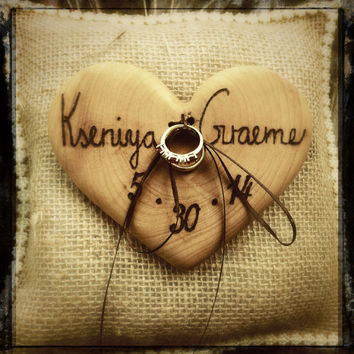 Rustic wedding bearer pillow wooden heart country weddings