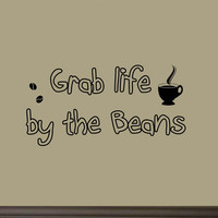 Grab Life By the Beans Vinyl Wall Art Decals Coffee Quotes Sayings Wall Stick...