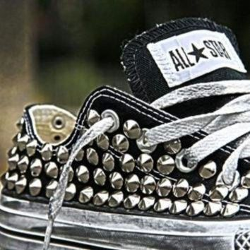 DCKL9 Studded Converse, Converse Black Low Top with silver cone rivet studs by CUSTOMDUO on