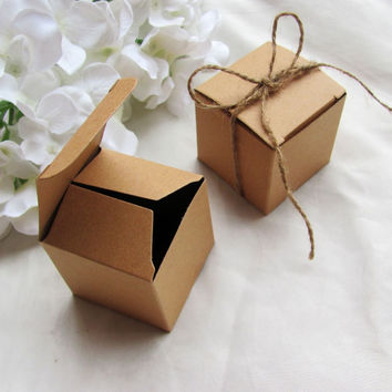 Free shipping 50pcs/lot Square Kraft  Paper Box With Jute Tie Gift Candy Boxes Wedding Party Favor 5*5*5cm