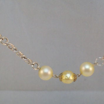 Yellow Faux Pearl and Silver Chain Bracelet XXL Plus Size