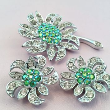Vintage Flower Brooch - Flower Earrings - Flower Jewelry - Vintage Jewelry Set - Sarah Coventry Jewelry - Flower Brooch - Rhinestone Jewelry