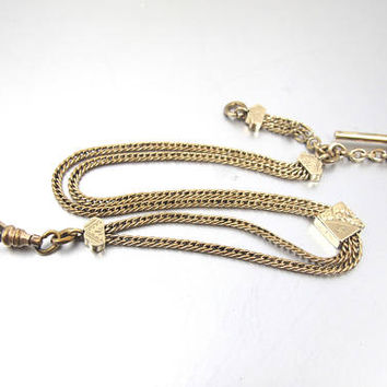 Antique Victorian Pocket Watch Chain. Gold Filled Double Chain. Etched Engraved Slide. FLS & Co. T Bar Watch Chain.