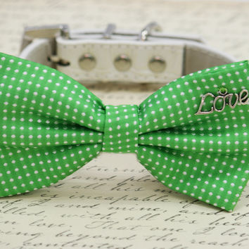 Green Dog Bow Tie with Charm, birthday Pet accessory, Polka dots wedding ideas