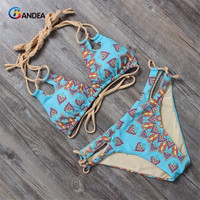 BANDEA women bikini set vintage swimsuit women halter top swimwear cut out bathing suit print  HA016