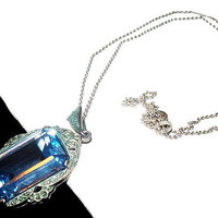 Edwardian Blue Glass Pendant Signed 835 Silver Cable Chain Vintage Antique