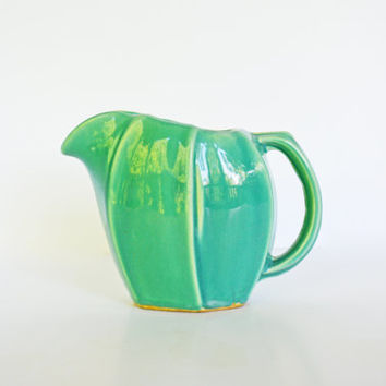Vintage McCoy Pottery Pitcher, McCoy Teal Water Pitcher, Deep Aqua Blue McCoy Collectible