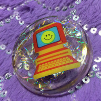 Happy Face Pink Computer 90s Cyberspace Holographic Transparent Lapel Pin