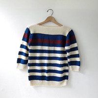 Vintage knit sweater. Woven knit shirt. Striped top. Nautical.