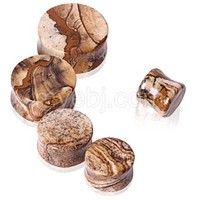 Natural Picture Jasper Stone Saddle Plug