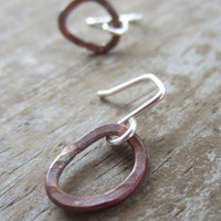 Small Copper Hoops, Small Copper Earrings, Little Hoops