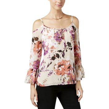 INC Womens Textured Dot Floral Print Blouse