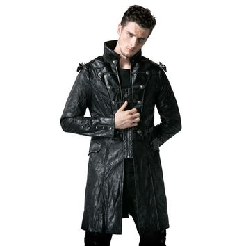 Cool Steampunk Faux Leather Men's Army Uniform Long Jackets Gothic Stand Collar Black Coats Casual Punk Wind JacketsAT_93_12