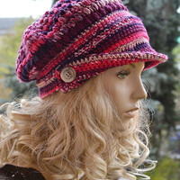 Crocheted  PEAKED CAP beanie Slouchy Winter Fashion , very warm, amaranth,purple,pink, women slouchy hat,Girls Hat,unique gifts