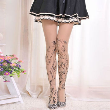 Butterflies and Bird with a Scroll on  Women's Panty Hose (One Size)