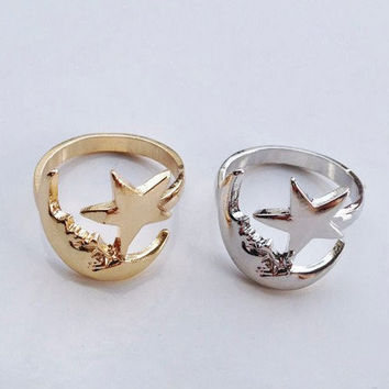 Lucky Moon & Star Ring