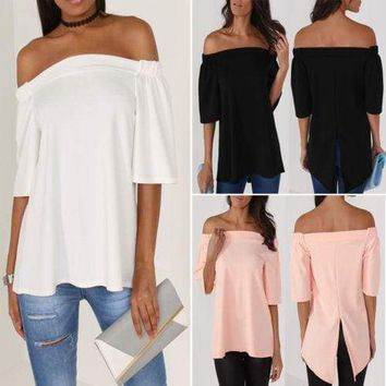 Women's Off The Shoulder Casual Loose Short Sleeve Blouse T Shirt Tops Summer