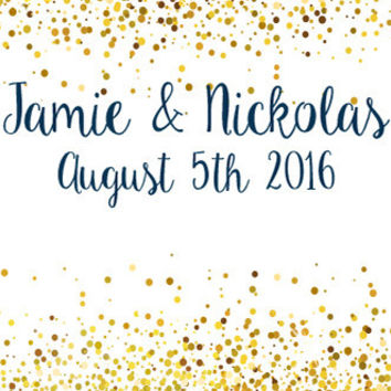 Custom Gold Glitter Confetti Backdrop (Great for Wedding, Shower, Party, New Years) - C087