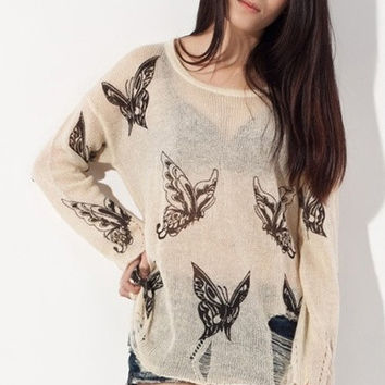 Semi Sheer Butterfly Print Distressed Sweater = 1920220740
